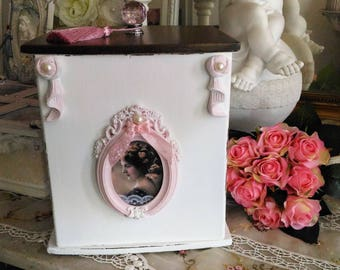 Beautiful big box style shabby chic antique white and pink powder
