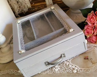 gray cloud and chic Calais shabby lace covered box