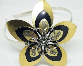 Large Hufflepuff Scale Flower Chainmaille Headband