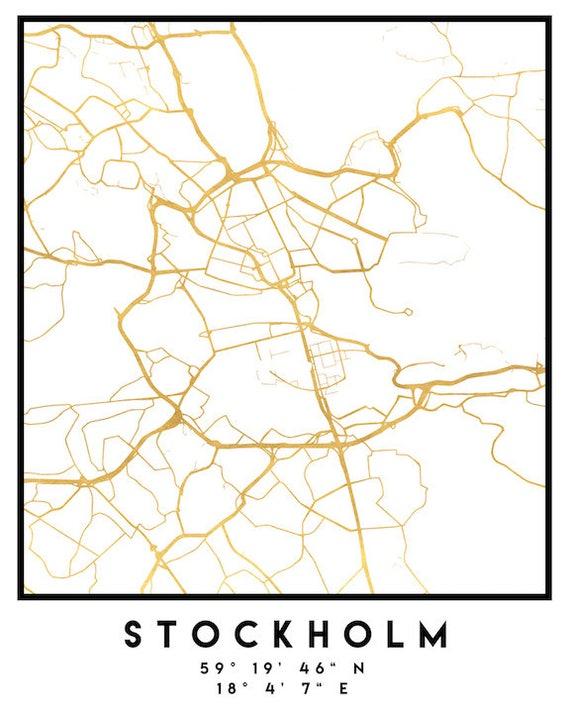 Stockholm Map Coordinates Print Sweden City Street Map Art - Sweden map coordinates