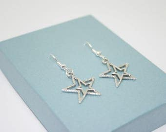 Silver Star Earrings, Star Charm, Star Jewelry, Gift For Her, Rock Star Earrings, Sterling Silver Earrings, Christmas Jewellery