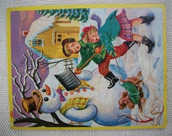 Jaymar Children's Frame Tray Cardboard Puzzle Vintage Jigsaw Puzzle Boy And Girl With Snowman And Dog