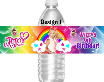 Printable JoJo Siwa Birthday Party Water Bottle Labels 16.9 oz Water Party Favors