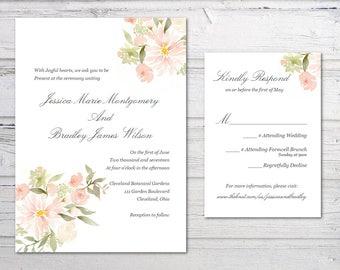 Botanical Garden Wedding Invitation Set, Elegant, Flowers, Floral, Rustic, Simple, Elegant, Printed, Printable, Digital, PDF Download