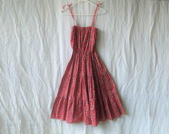 70s Floral Hippie Boho Ruffly Maxi Dress