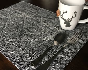 Modern Farmhouse Placemats - quilted placemats - farmhouse decor - modern ranch - mid century modern - kitchen decor - black and white