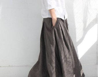 Women Linen Skirt Elastic Skirts 100% linen Many Colors Custom Made