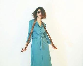 40%OFF 70s Green dress, boho retro dress, bohemian dress, casual dress, tea dress, day dress, shirt dress, size s m