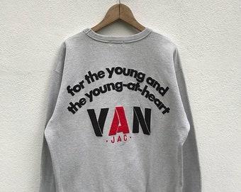 20% OFF Vintage Van Jac Big Logo Sweatshirt / Van Jac Crewneck / Van Jac Pullover / Sportwear