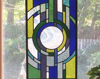 Stained Glass Panel; Stained Glass Window; Stained Glass art; leaded glass window; rainbow: large window; contemporary; geometric; colorful