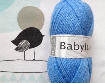 WOOL BABYLUX cornflower blue - white horse