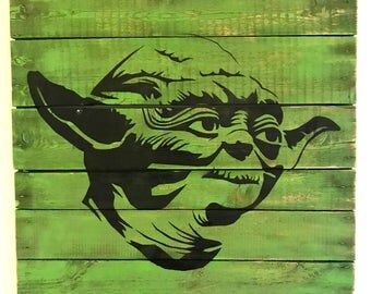 Master Yoda Painted on Reclaimed Wood