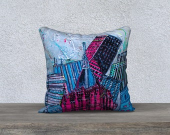 New York pink Cushion cover - Pillow Case by Melanie Bernard Art print soft cover 18 x 18