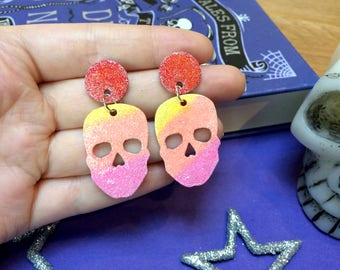 Rainbow Glitter Skulls - Dangle Earrings - Halloween