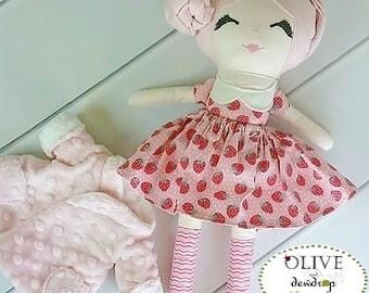 Strawberry Dress Up Doll, Cloth Doll,  Pink Hair - Cloth Rag Doll, Wool Felt Hair, Birthday Gift, Christmas Gift, Pink Doll