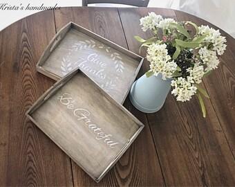 Weathered wood style trays