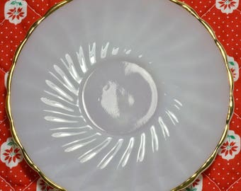 White Milk Glass Gold Trim Saucer, Anchor Hocking Suburbia Vintage Saucer