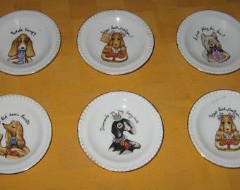 Hand Painted Lenwile China Ardalt Japan dogs playing bridge minitaure plates