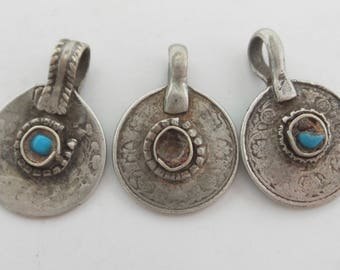 Antique 2 Anna's coin pendant from India. King George V and King Edward. Silver and glass. Price for 1 coin. Collectable. Handmade. NPC188