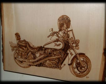 CUSTOM Motorcycle Wood Burning, Pyrography, Made to Order