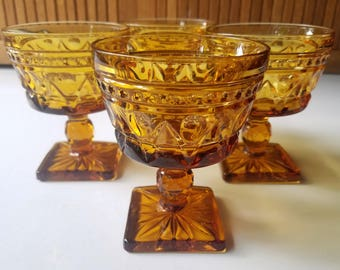 Set of 4 Vintage Park Lane Amber by Colony Champagne/Tall Sherbet Glasses