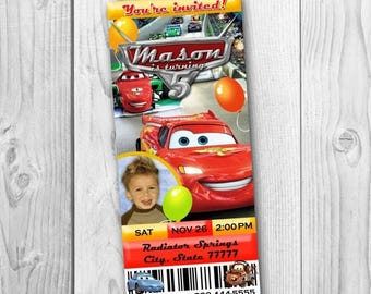 Disney Cars Ticket Invitation - Cars Birthday Party - Disney Cars Printable - Cars Tickets - Lightning McQueen Invitation