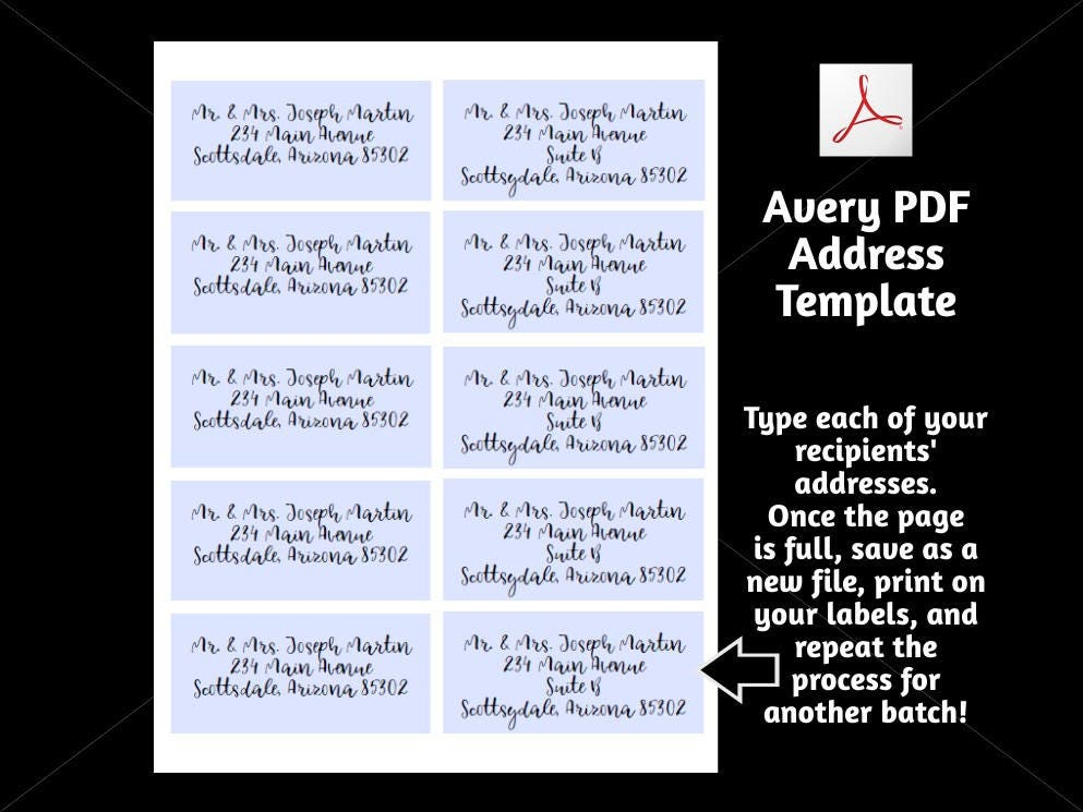 printable address template for envelope labels