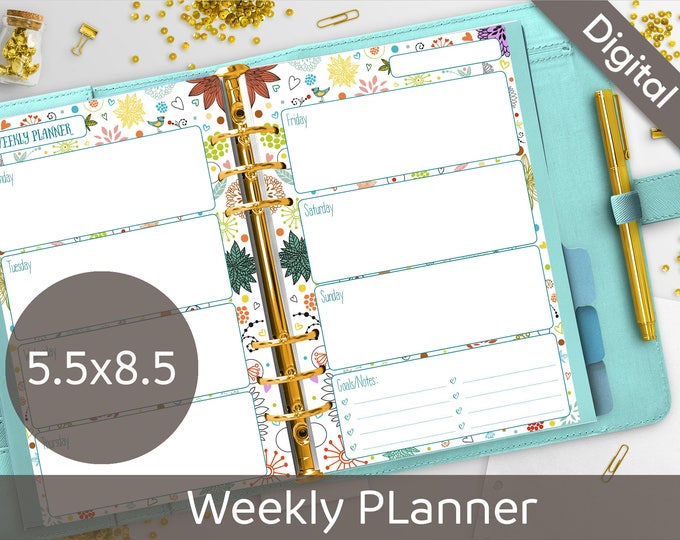 5.5x8.5 Weekly Planner Printable, Undated Weekly, 2 layouts, WO2P, WO1P, Half size, Syasia Cute Floral DIY Planner PDF Instant Download