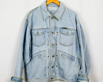 Oversized Denim Jacket, Calvin Klein Jeans, Vintage Clothing, Jean Jacket, 90s Clothing, Baggy Jacket, Light Wash Denim, 90s Jacket Hip Hop