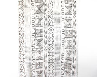 African Mud Cloth Mudcloth  Black White / Unbleached, Block Print Textile. Blanket, Throw, Fabric, Global Decor, Boho Nursery, Textile Art