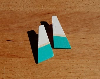 White & light green wooden earrings, hand painted