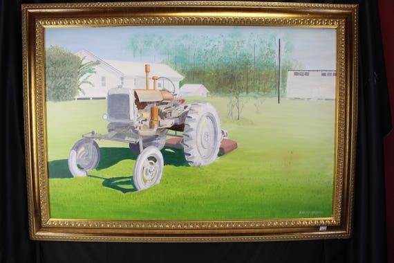 Original Oil Painting Antique Farm Tractor Impressionism Artist Robert Noonan Colorado Large Sofa Sized