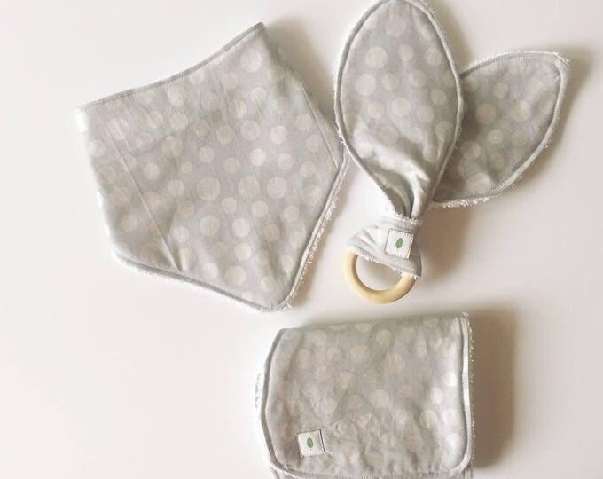 Silver Polka Dot Bandanna Bib, Teether and Burp Cloth Baby Gift Set - Wood Ring Teether - Bunny Ear Teether - Gray Dot Burp Cloth