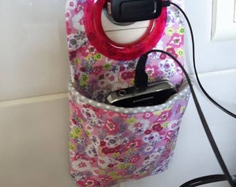 """Charger"""" case for smartphone floral cotton ring fuchsia"""