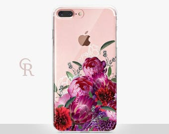 Floral iPhone 8 Plus Case - Clear Case - For iPhone 8 - iPhone X - iPhone 7 Plus - iPhone 6 - iPhone 6S - iPhone SE Transparent - Samsung