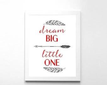 SALE Nursery Art Dream Big Little One Art Print Nursery Wall Decor Instant Download Baby Wall Art Dream Big Art Print Nursery Printable Kids