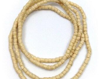 SALE 15% OFF Glass beads, cream, 3 mm, cylinder, Ghana, tubes, 67
