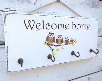 Welcome key holder,welcome sign, housewarming gift,key rack