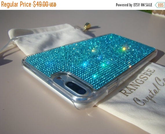 Sale iPhone 7 Plus Case Aquamarine Blue Rhinestone Crystals on Transparent Clear Case. Velvet Pouch Included, Genuine Rangsee Crystal Cases