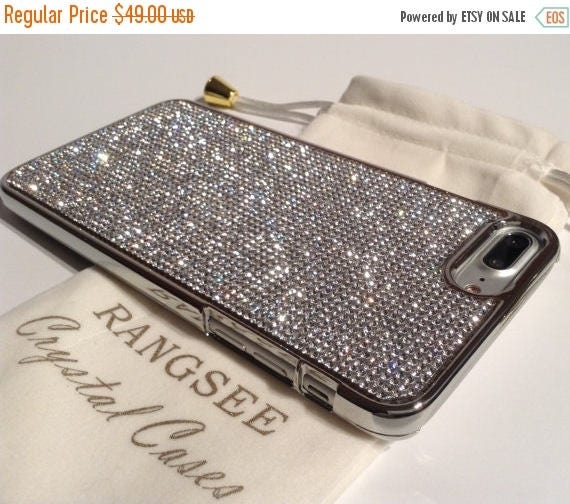 Sale iPhone 7 Plus Case Clear Diamond Rhinestone Crystals on Silver Chrome Case. Velvet Pouch Included, Genuine Rangsee Crystal Cases