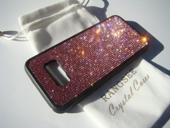 Galaxy S8+  Pink Rose Crystals on Black Rubber Case. Velvet/Silk Pouch Bag Included, Genuine Rangsee Crystal Cases.