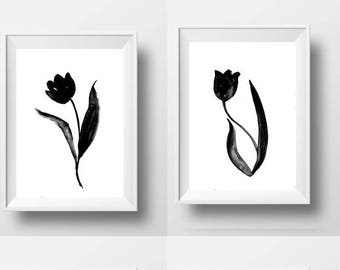 Tulips Set of 2 abstract watercolor painting denim black  white wall art abstract nature print modern home decal poster wall art print dorm