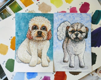 Custom Pet Portrait, watercolour painting, 4x6 inches.
