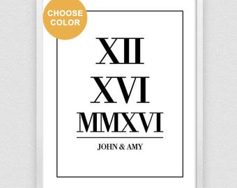 Roman Numeral Print, Personalized Gift for Couple, Wedding Date Sign, Custom Date Print, Anniversary Gift