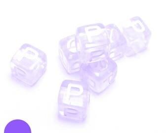 6mm square Pearl letter P translucent purple