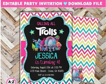 60% OFF SALE Trolls birthday invitation, Editable, Trolls, Edit with Adobe, Glitter, formatted for 5x7. 2 per page, Instant download, DIY, P
