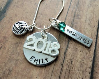 Volleyball Necklace, Personalized, Hand Stamped, Volleyball Charm, Graduation, Class of 2018, Team Gift, Personalized Volleyball, 2017