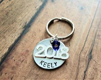 Class of 2018 Keychain, Hand Stamped, Personalized, Graduation, Senior Class Gift, Birthday Gift, Key Ring, Senior Year, Senior Gift, 2017