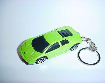 3D Lamborghini Murcialago custom keychain by Brian Thornton keyring key chain finished in green metallic color trim diecast metal body