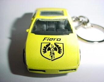3D 1985 Pontiac Fiero custom keychain by Brian Thornton keyring key chain finished in yellow color trim diecast metal body